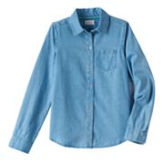 Girls Plus Size SO® Lyocell Chambray Button-Down Shirt