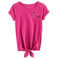 Girls 7-16 SO® Rolled Cuff Tie Front Tee