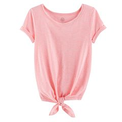 Girls Plus Size SO® Rolled Cuff Tie Front Tee