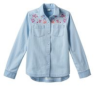 Girls Plus Size Mudd® Embroidered Chambray Button-Down Shirt