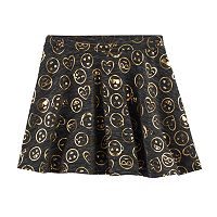 Girls Plus Size SO® French Terry Nep Foil Patterned Circle Skirt