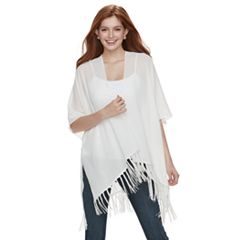 Mudd® Embroidered Floral & Tassel Trim Wrap