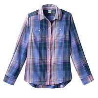 Girls 7-16 Mudd® Curved Hem Plaid Button-Down Shirt