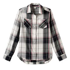 Girls 7-16 Mudd® Curved Hem Plaid Button-Down Shirt