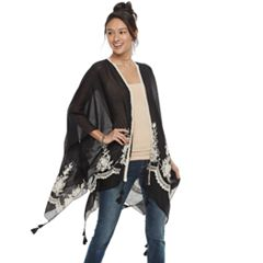Mudd® Embroidered Floral Topper Wrap with Tassels