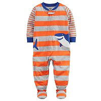 Baby Boy Carter's Shark Applique Striped One-Piece Footed Pajamas