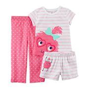Baby Girl Carter's 3 pc Monster Striped & Polka Dot Pajama Set