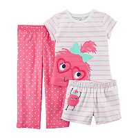Baby Girl Carter's 3-pc. Monster Striped & Polka Dot Pajama Set