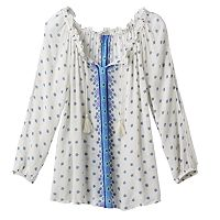 Girls Plus Size Mudd® 3/4-Length Cold Shoulder Embroidered Peasant Top