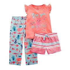Toddler Girl Carter's 'Sea You In The Morning' Top, Shorts & Pants Pajama Set