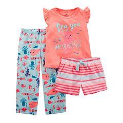 Toddler Girl Carter's 'Sea You In The Morning' Top, Shorts & Pants Pajama Set