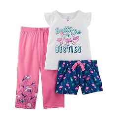 Toddler Girl Carter's 'Bedtime Besties' Flamingo Top, Shorts & Pants Pajama Set