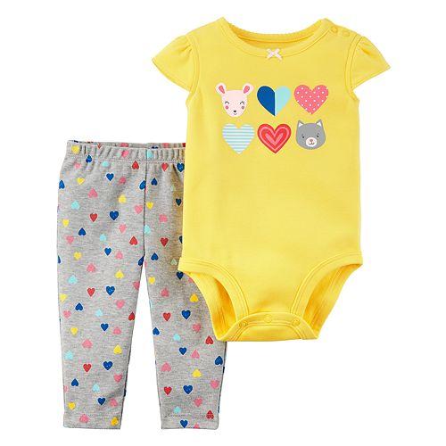 Baby Girl Carter's Yellow Heart Bodysuit & Heart Pattern Leggings Set