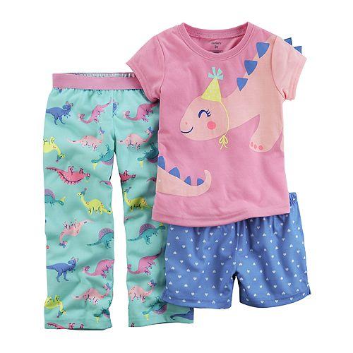 Toddler Girl Carter's 3-pc. Dinosaur Birthday Hat Pajama Set