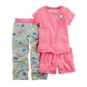 Toddler Girl Carter's 3 pc Space Mouse Polka Dot Pajama Set