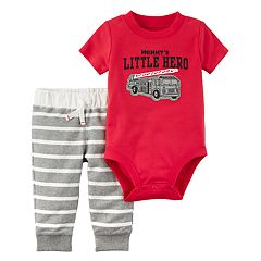 Baby Boy Carter's 'Mommy's Little Hero' Fire Engine Bodysuit & Striped French Terry Pants Set