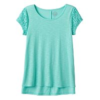 Girls 7-16 SO® Floral Lace Sleeve Tee