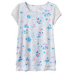 Girls Plus Size SO® Floral Lace Sleeve Tee