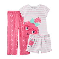 Toddler Girl Carter's 3 pc Monster Polka Dot & Stripes Pajama Set