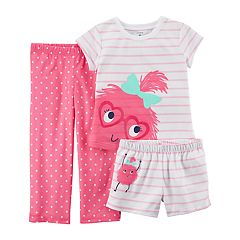 Toddler Girl Carter's 3-pc. Monster Polka Dot & Stripes Pajama Set