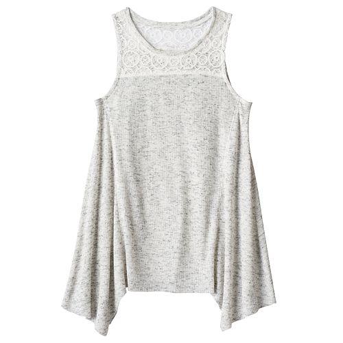 Girls Plus Size Mudd® Ribbed Sharkbite Hem Tank Top
