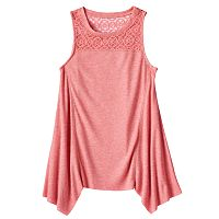 Girls Plus Size Mudd® Ribbed Sharkbite Hem Tank Top