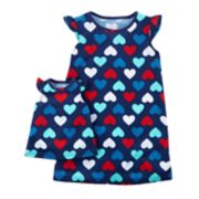 Toddler Girl Carter's Red, White & Blue Heart Nightgown & Doll Nightgown