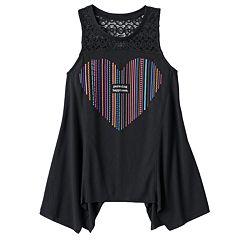 Girls Plus Size Mudd® Crochet Lace Yoke Sharkbite Tank Top