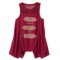 Girls Plus Size Mudd® Crochet Lace Yoke Sharkbite Tank Top
