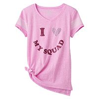 Girls Plus Size SO® Tie Front Shine Tee