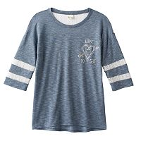 Girls 7-16 Mudd® Lace Yoke Varsity Tee