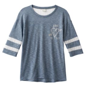Girls Plus Size Mudd® Lace Yoke Varsity Tee