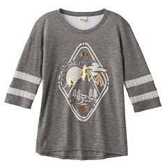 Girls Plus Size Mudd® Lace Yoke Varsity Tee