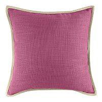 Solid Woven Linen Trimmed Throw Pillow