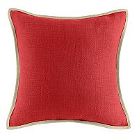 Solid Woven Linen Trimmed Throw Pillow