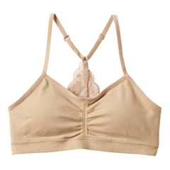 Girls 7-16 Maidenform Seamless Crop Bra With Lace T-Back