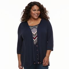 Plus Size Croft & Barrow® Mock-Layer Top