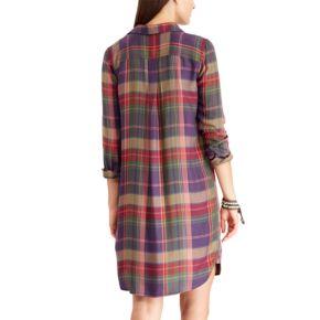 Women's Chaps Plaid Twill Shirt Dress