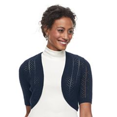 Petite Croft & Barrow® Pointelle Elbow Sleeve Shrug
