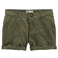 Toddler Girl Carter's Olive Green Twill Roll-Cuff Shorts