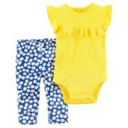 Baby Girl Carter's Eyelet Ruffle Bodysuit & Floral Pants Set