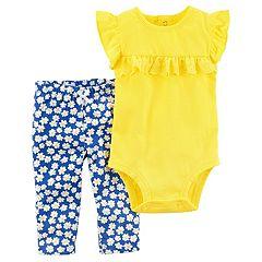 Baby Girl Carter's Eyelet Ruffle Bodysuit & Floral Pants Set