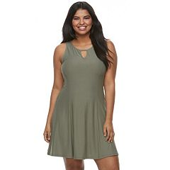 Juniors' Plus Size Mudd® Sueded Jersey Skater Dress