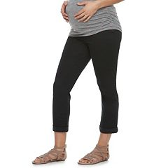 Maternity a:glow Full Belly Panel Twill Skinny Capris