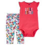 "Baby Girl Carter's ""Little Sister"" Bodysuit & Floral Leggings Set"