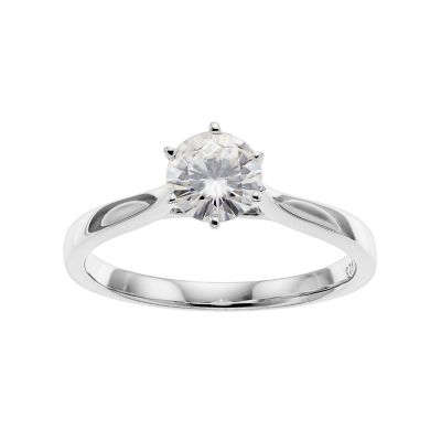 Forever Classic Sterling Silver 3/4 Carat T.W. Lab-Created Moissanite Solitaire Engagement Ring