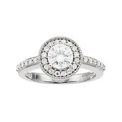 Forever Classic Sterling Silver 1 Carat T.W. Lab-Created Moissanite Halo Engagement Ring