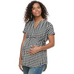 Maternity a:glow Plaid Cotton Top
