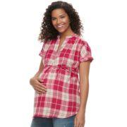 Maternity a:glow Plaid Cotton Top