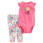 "Baby Girl Carter's ""Love"" Graphic Bodysuit & Floral Pants Set"